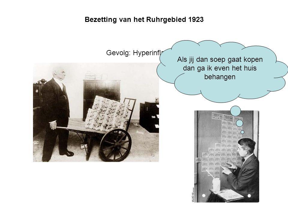 Bezetting van het Ruhrgebied 1923 Gevolg: Hyperinflatie Als jij dan soep gaat kopen dan ga ik even het huis behangen