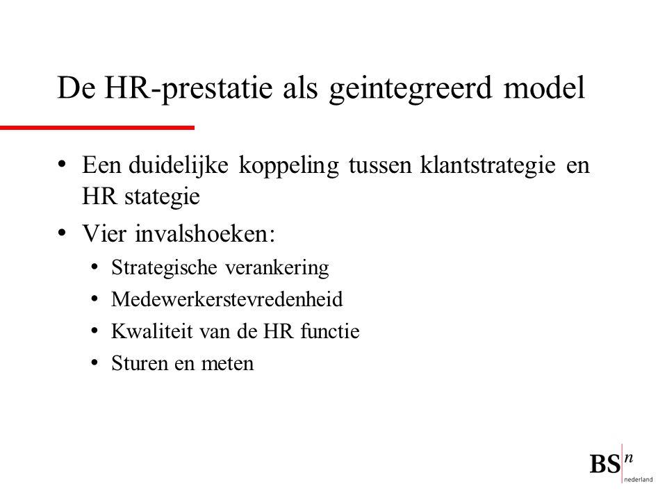 De HR-prestatie als geintegreerd model Een duidelijke koppeling tussen klantstrategie en HR stategie Vier invalshoeken: Strategische verankering Medewerkerstevredenheid Kwaliteit van de HR functie Sturen en meten
