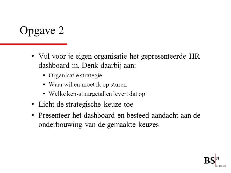 Opgave 2 Vul voor je eigen organisatie het gepresenteerde HR dashboard in. Denk daarbij aan: Organisatie strategie Waar wil en moet ik op sturen Welke
