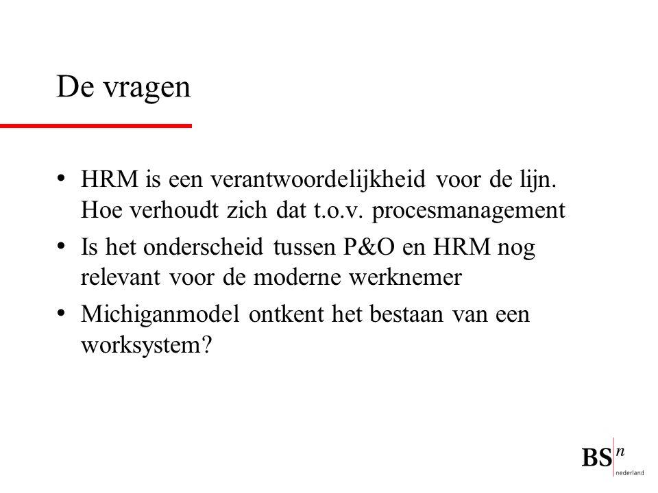 De vragen HRM is een verantwoordelijkheid voor de lijn. Hoe verhoudt zich dat t.o.v. procesmanagement Is het onderscheid tussen P&O en HRM nog relevan