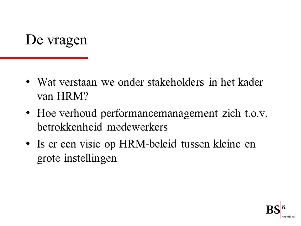 De vragen Wat verstaan we onder stakeholders in het kader van HRM? Hoe verhoud performancemanagement zich t.o.v. betrokkenheid medewerkers Is er een v