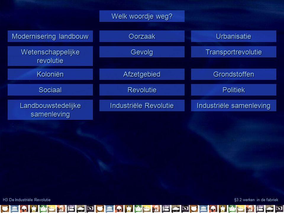 H3 De Industriële Revolutie §3.2 werken in de fabriek Modernisering landbouw OorzaakUrbanisatie Welk woordje weg? Wetenschappelijke revolutie GevolgTr