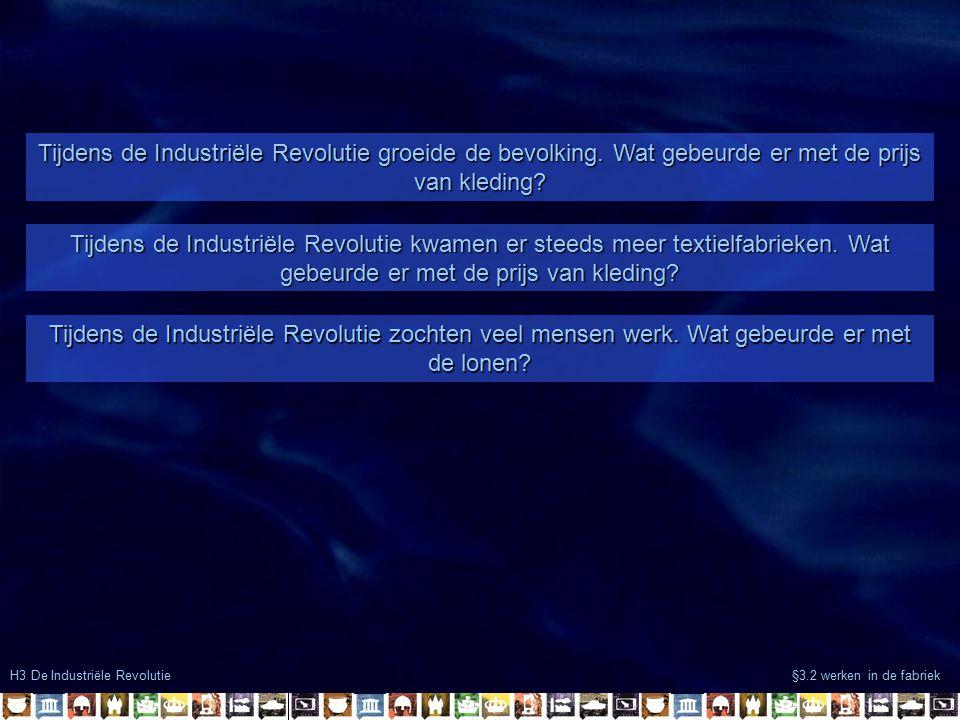 H3 De Industriële Revolutie §3.2 werken in de fabriek Tijdens de Industriële Revolutie groeide de bevolking. Wat gebeurde er met de prijs van kleding?