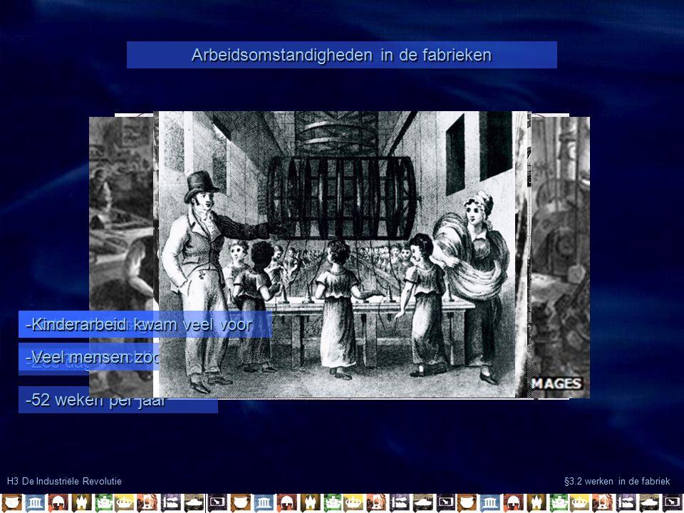 H3 De Industriële Revolutie §3.2 werken in de fabriek Arbeidsomstandigheden in de fabrieken -14 to 16 uur per dag -Zes dagen per week -52 weken per ja