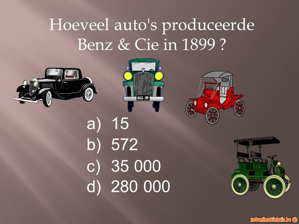 a)15 b)572 c)35 000 d)280 000 Hoeveel auto's produceerde Benz & Cie in 1899 ?