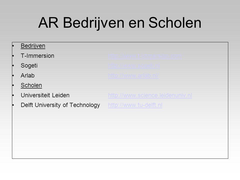 AR Bedrijven en Scholen Bedrijven T-Immersionhttp://www.t-immersion.comhttp://www.t-immersion.com Sogetihttp://www.sogeti.nlhttp://www.sogeti.nl Arlabhttp://www.arlab.nl/http://www.arlab.nl/ Scholen Universiteit Leidenhttp://www.science.leidenuniv.nlhttp://www.science.leidenuniv.nl Delft University of Technologyhttp://www.tu-delft.nlhttp://www.tu-delft.nl