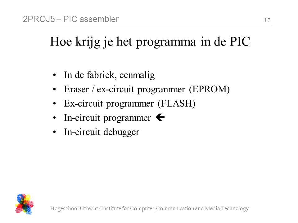 2PROJ5 – PIC assembler Hogeschool Utrecht / Institute for Computer, Communication and Media Technology 17 Hoe krijg je het programma in de PIC In de f