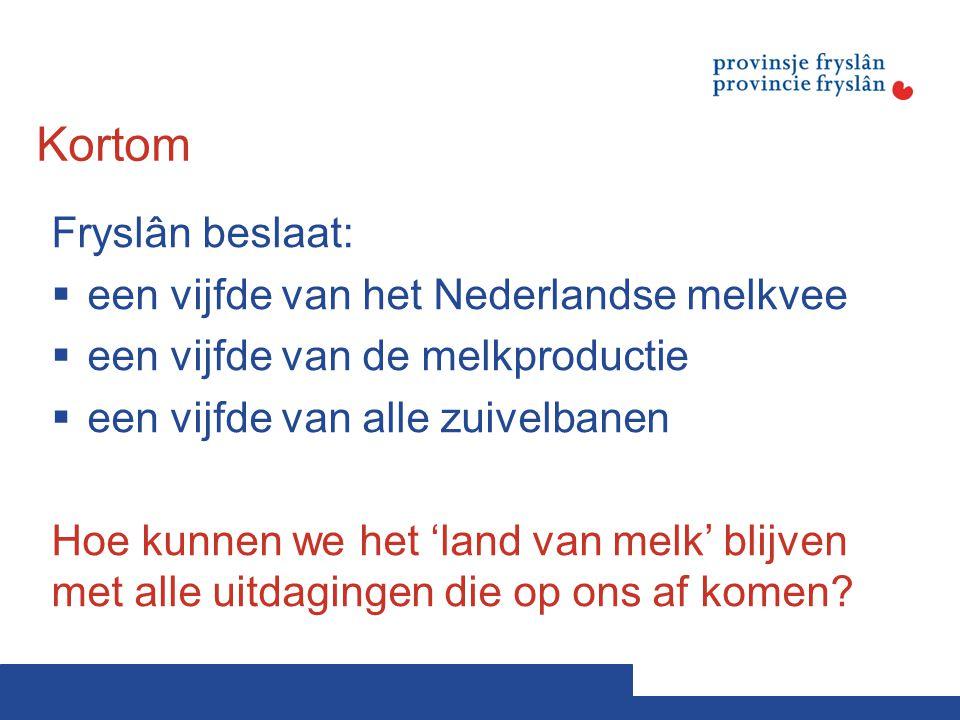 Kortom Fryslân beslaat:  een vijfde van het Nederlandse melkvee  een vijfde van de melkproductie  een vijfde van alle zuivelbanen Hoe kunnen we het 'land van melk' blijven met alle uitdagingen die op ons af komen