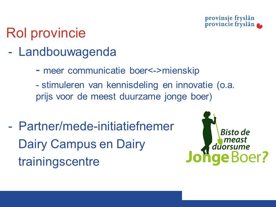 Rol provincie -Landbouwagenda - meer communicatie boer mienskip - stimuleren van kennisdeling en innovatie (o.a. prijs voor de meest duurzame jonge bo