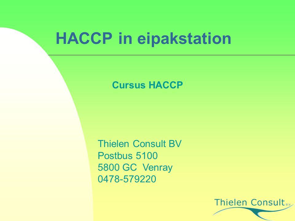 HACCP in eipakstation Cursus HACCP Thielen Consult BV Postbus 5100 5800 GC Venray 0478-579220