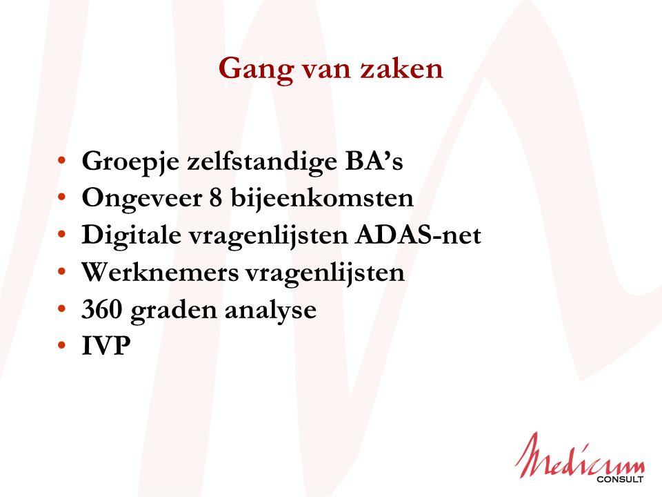 Gang van zaken Groepje zelfstandige BA's Ongeveer 8 bijeenkomsten Digitale vragenlijsten ADAS-net Werknemers vragenlijsten 360 graden analyse IVP