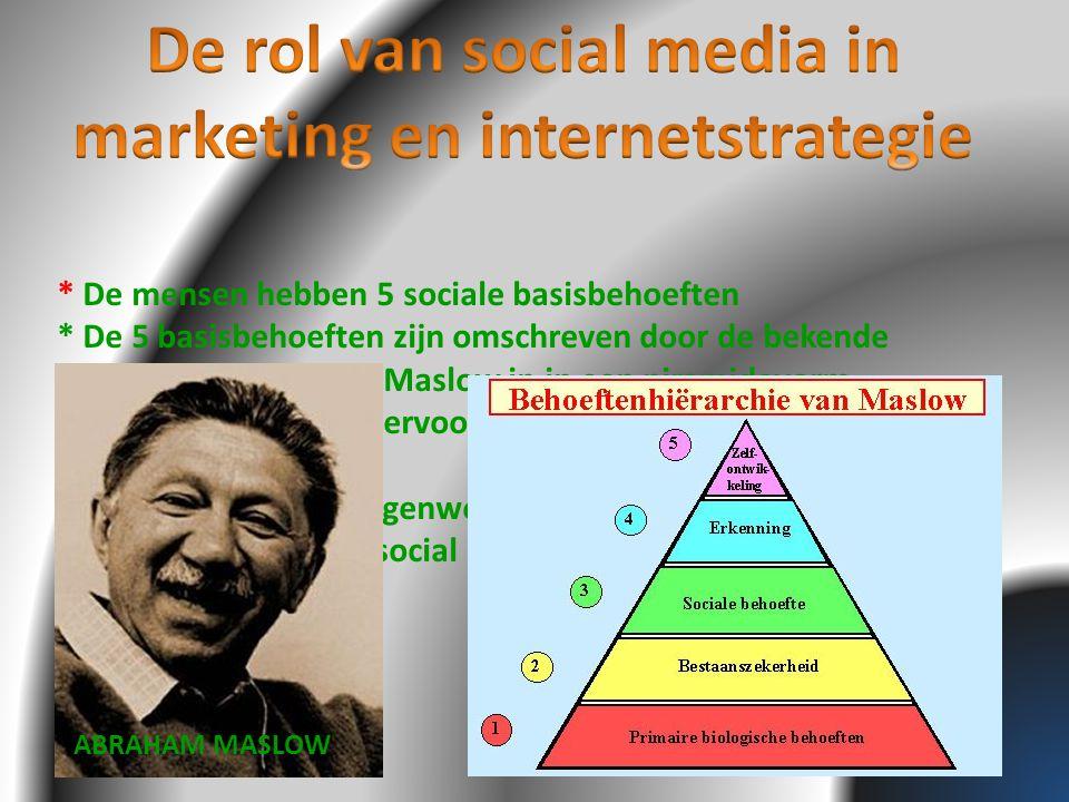 * De mensen hebben 5 sociale basisbehoeften * De 5 basisbehoeften zijn omschreven door de bekende socioloog/ marketeer Maslow in in een piramidevorm * Marketeers moeten ervoor zorgen om de behoeften van de mens te voldoen * Bedrijven hebben tegenwoordig veel profijt door de aanwezigheid van de social media ABRAHAM MASLOW