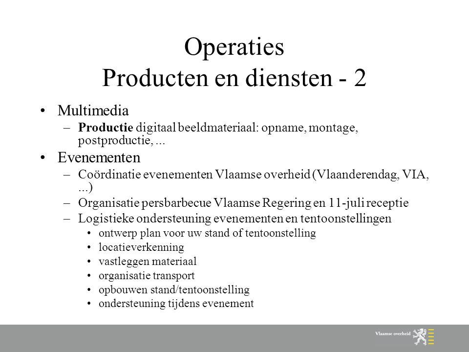 Operaties Producten en diensten - 2 Multimedia –Productie digitaal beeldmateriaal: opname, montage, postproductie,... Evenementen –Coördinatie eveneme