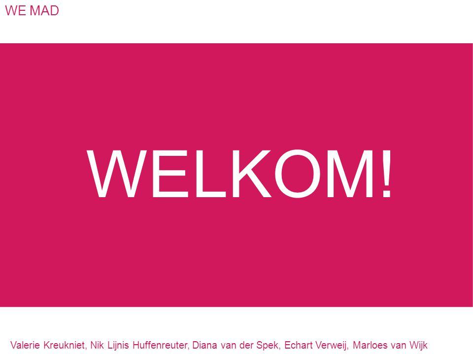 WE MAD WELKOM! Valerie Kreukniet, Nik Lijnis Huffenreuter, Diana van der Spek, Echart Verweij, Marloes van Wijk