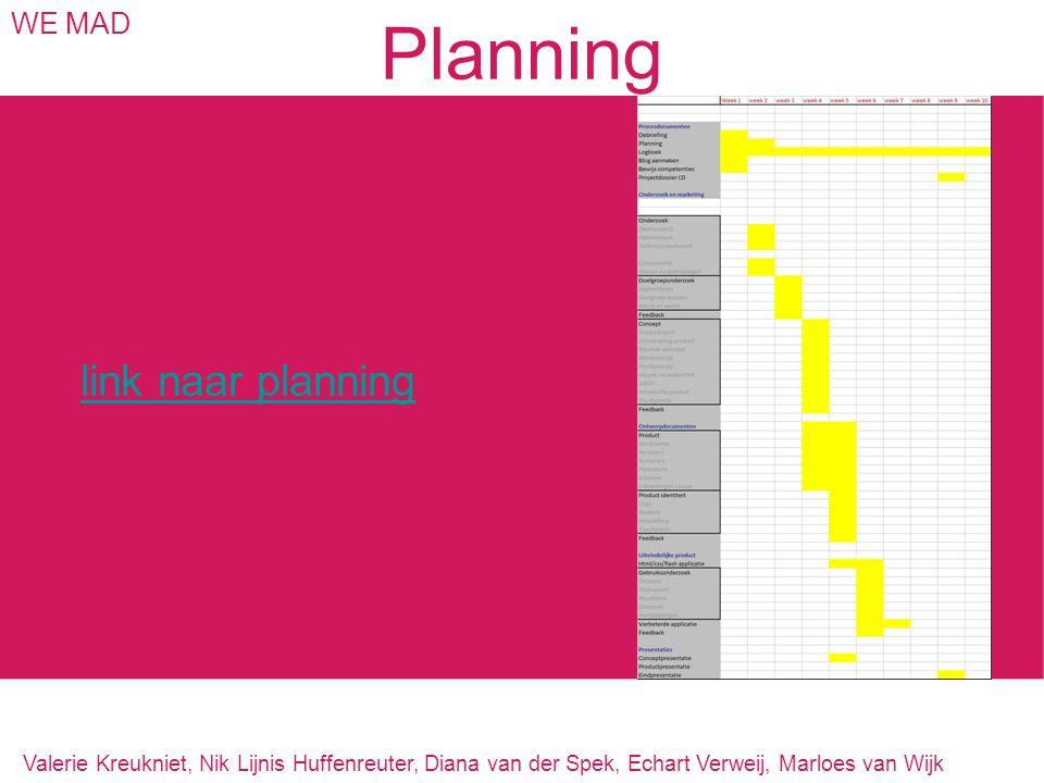 Planning WE MAD link naar planning Valerie Kreukniet, Nik Lijnis Huffenreuter, Diana van der Spek, Echart Verweij, Marloes van Wijk