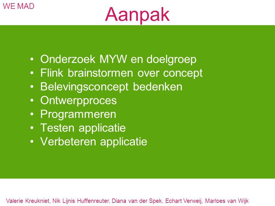 Aanpak WE MAD Onderzoek MYW en doelgroep Flink brainstormen over concept Belevingsconcept bedenken Ontwerpproces Programmeren Testen applicatie Verbet
