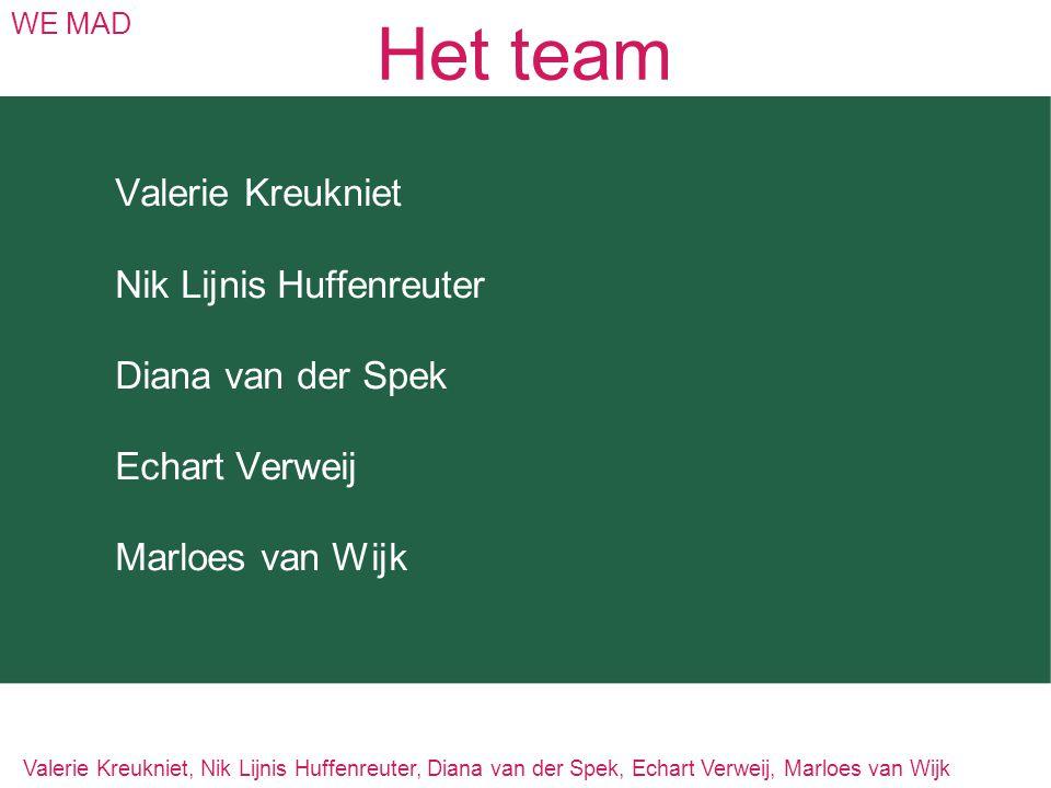 Het team WE MAD Valerie Kreukniet Nik Lijnis Huffenreuter Diana van der Spek Echart Verweij Marloes van Wijk Valerie Kreukniet, Nik Lijnis Huffenreute