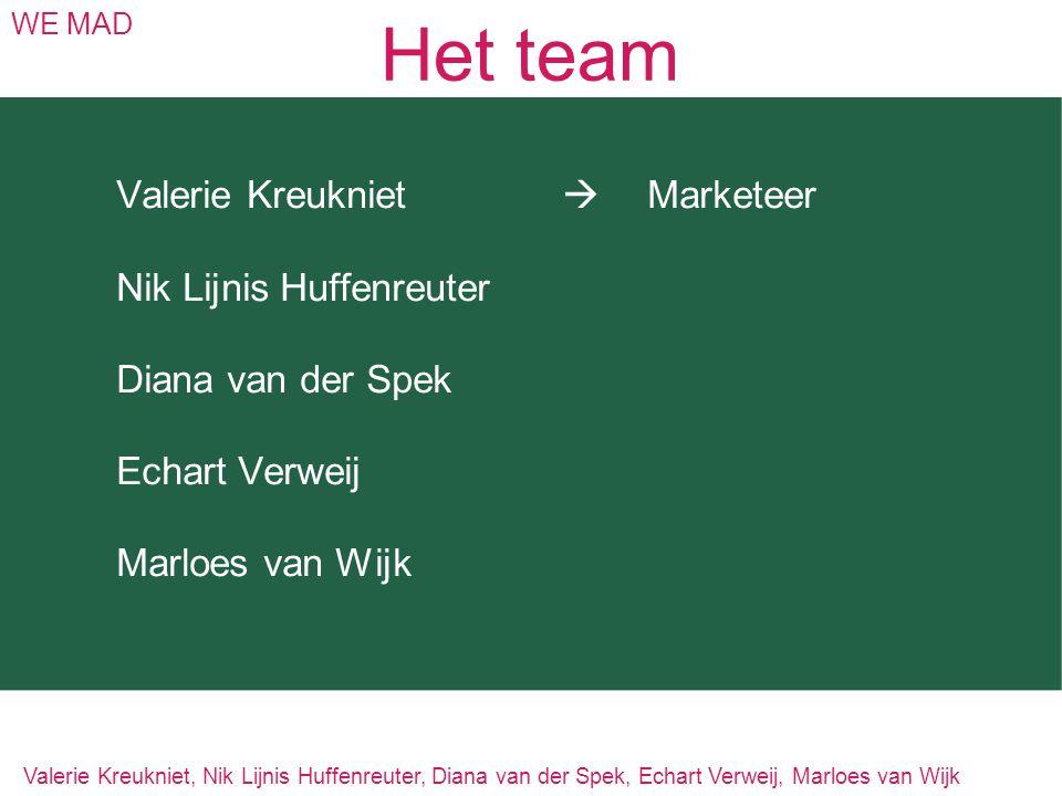 Het team WE MAD Valerie Kreukniet  Marketeer Nik Lijnis Huffenreuter Diana van der Spek Echart Verweij Marloes van Wijk Valerie Kreukniet, Nik Lijnis