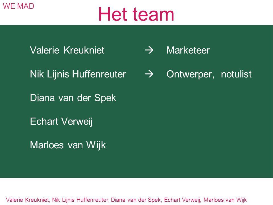 Het team WE MAD Valerie Kreukniet  Marketeer Nik Lijnis Huffenreuter  Ontwerper,notulist Diana van der Spek Echart Verweij Marloes van Wijk Valerie