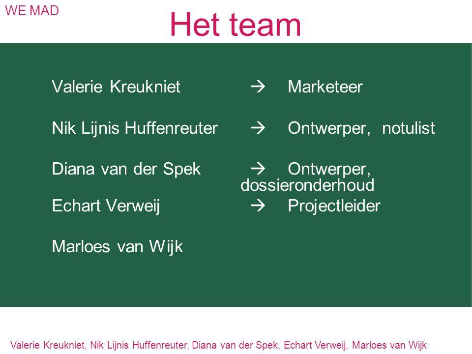 Het team WE MAD Valerie Kreukniet  Marketeer Nik Lijnis Huffenreuter  Ontwerper,notulist Diana van der Spek  Ontwerper, dossieronderhoud Echart Ver