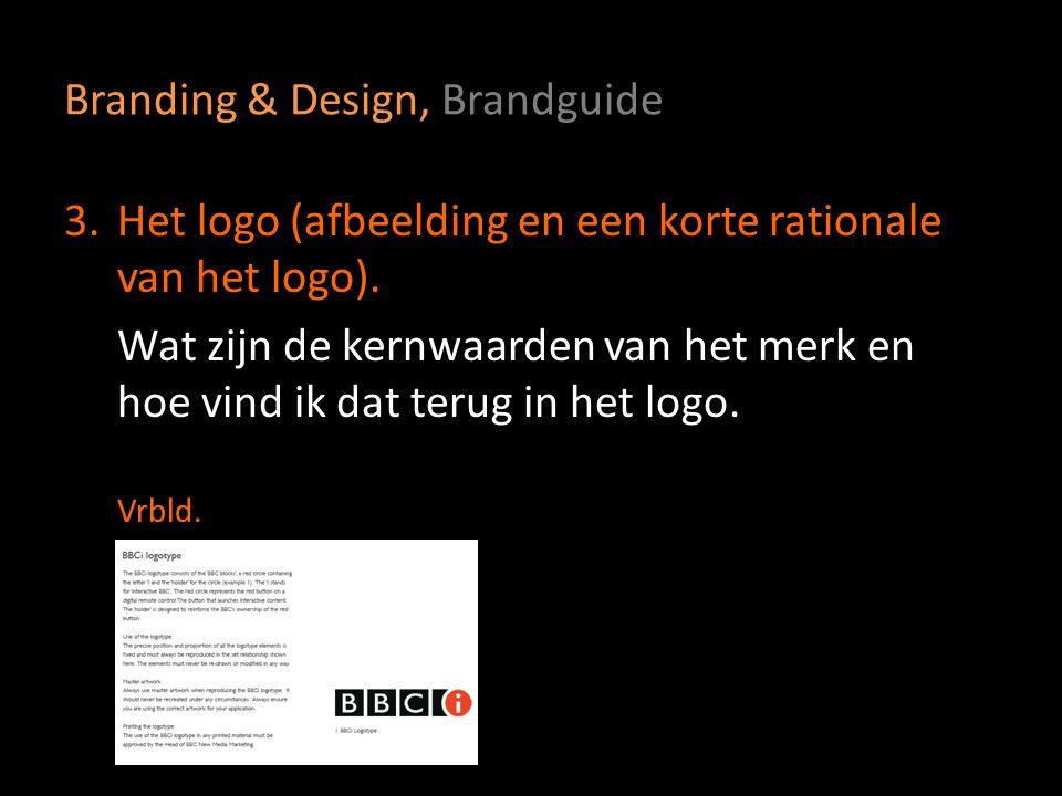 Branding & Design, Brandguide 4a.De kleuren van het logo In RGB en CMYK.
