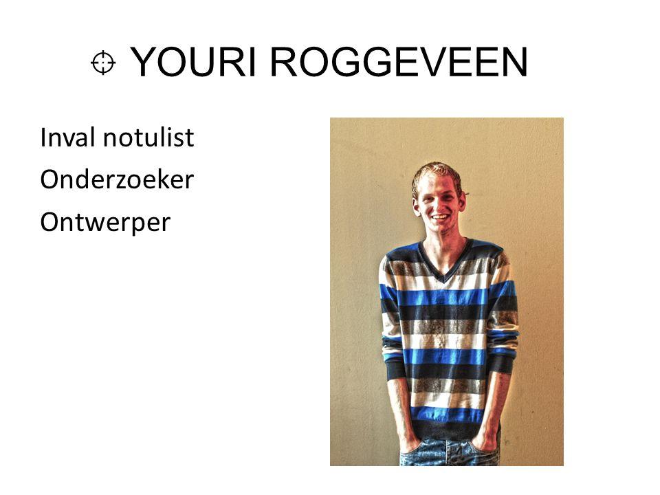 YOURI ROGGEVEEN Inval notulist Onderzoeker Ontwerper