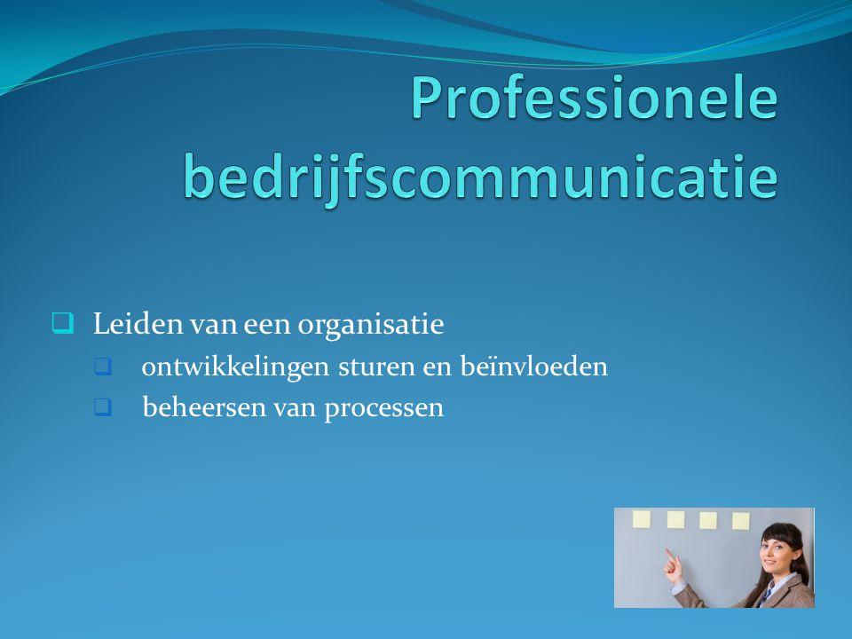  Leiden van een organisatie  ontwikkelingen sturen en beïnvloeden  beheersen van processen