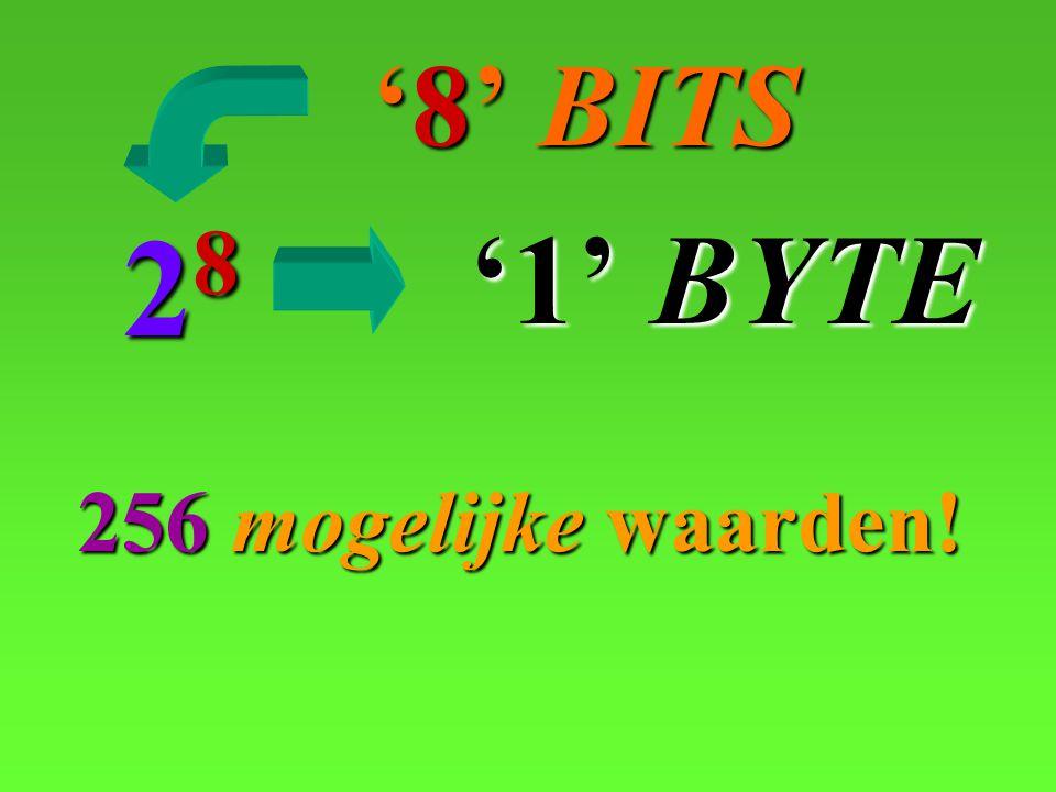 '8' BITS '8' BITS 28 256 256 mogelijke mogelijke waarden! '1' BYTE