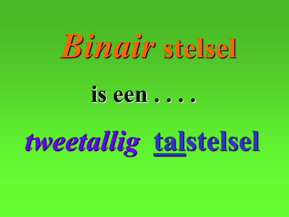 tweetallig tweetallig talstelsel Binair Binair stelsel is een....