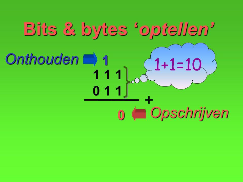 0 Opschrijven Onthouden1 Bits & bytes 'optellen' 1 1 1 0 1 1 + 1+1=10