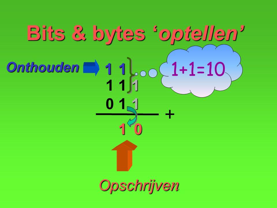 0 Opschrijven Onthouden 1 Bits & bytes 'optellen' 1 1 1 0 1 1 + 1+1=10 1 1