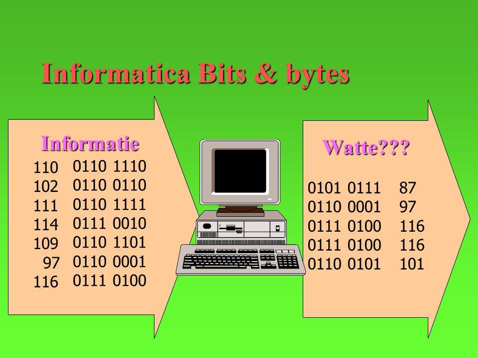 Informatica Bits & bytes 110 102 111 114 109 97 116 0110 1110 0110 0110 1111 0111 0010 0110 1101 0110 0001 0111 0100 0101 0111 0110 0001 0111 0100 0110 0101 87 97 116 101 Informatie Watte???
