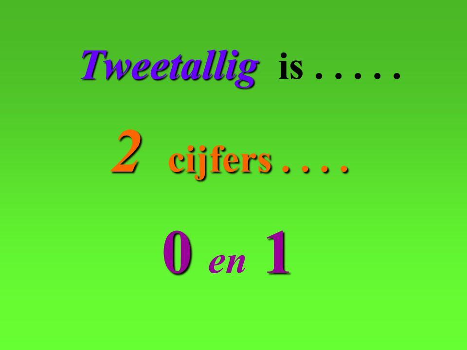 00 00 en 1 Tweetallig Tweetallig is..... 2 cijfers....