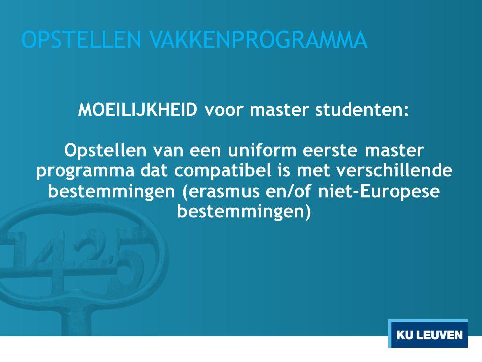 OPSTELLEN VAKKENPROGRAMMA MOEILIJKHEID voor master studenten: Opstellen van een uniform eerste master programma dat compatibel is met verschillende bestemmingen (erasmus en/of niet-Europese bestemmingen)