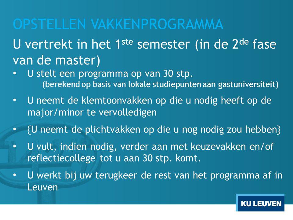 OPSTELLEN VAKKENPROGRAMMA U vertrekt in het 1 ste semester (in de 2 de fase van de master) U stelt een programma op van 30 stp. (berekend op basis van