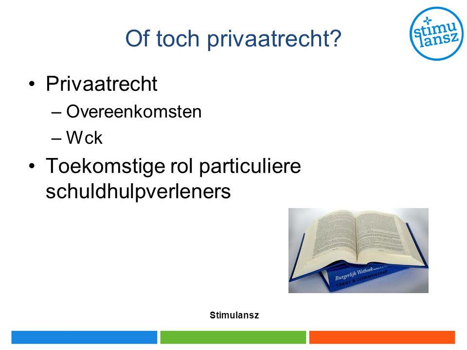 Of toch privaatrecht? Privaatrecht –Overeenkomsten –Wck Toekomstige rol particuliere schuldhulpverleners Stimulansz