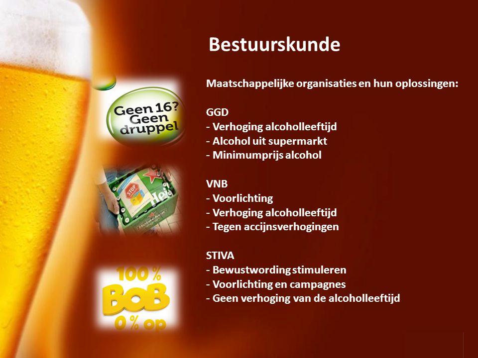 Page 4 Bestuurskunde Maatschappelijke organisaties en hun oplossingen: GGD - Verhoging alcoholleeftijd - Alcohol uit supermarkt - Minimumprijs alcohol