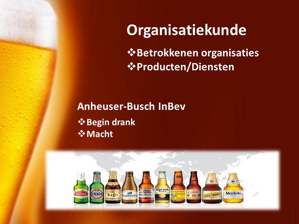 Page 7 Organisatiekunde Anheuser-Busch InBev  Begin drank  Macht  Betrokkenen organisaties  Producten/Diensten