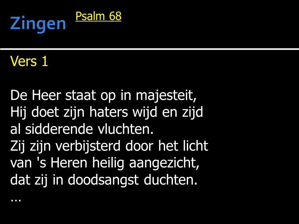 Vers 1 De Heer staat op in majesteit, Hij doet zijn haters wijd en zijd al sidderende vluchten. Zij zijn verbijsterd door het licht van 's Heren heili
