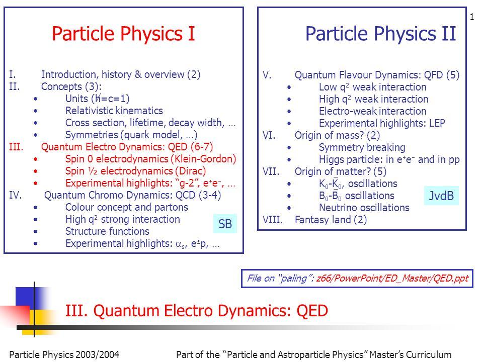 32 Oplossing deeltje in rust: Splits  in twee componenten, dan volgt (  0  (1/c)  t ) Oplossingen De 4 onafhankelijke oplossingen volledig uitgeschreven: ee e+e+ Dirac vgl.