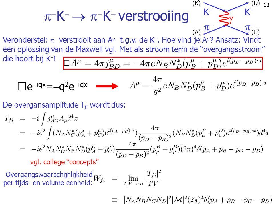 13   K     K  verstrooiing Overgangswaarschijnlijkheid per tijds- en volume eenheid: e  iqx =  q 2 e  iqx Veronderstel:   verstrooit aan