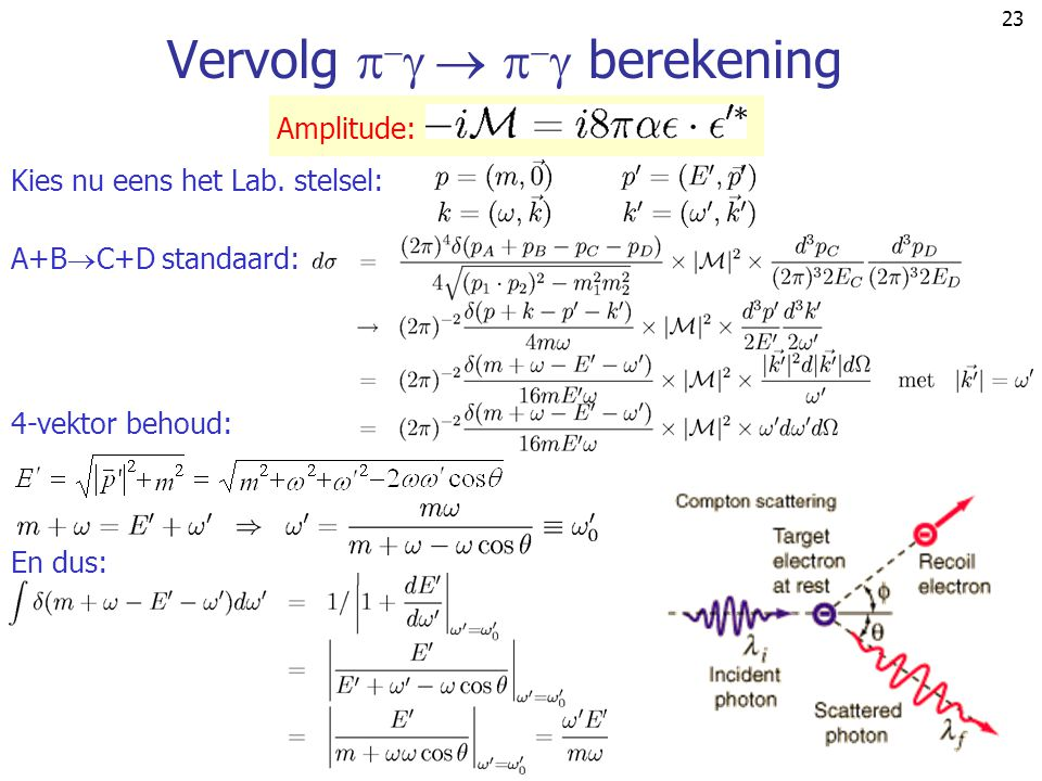 23 Vervolg        berekening Amplitude: A+B  C+D standaard: 4-vektor behoud: Kies nu eens het Lab. stelsel: En dus: