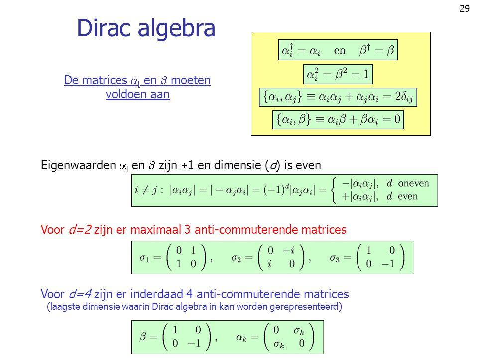 29 Dirac algebra Eigenwaarden  i en  zijn  1 en dimensie (d) is even Voor d=2 zijn er maximaal 3 anti-commuterende matrices Voor d=4 zijn er inderd