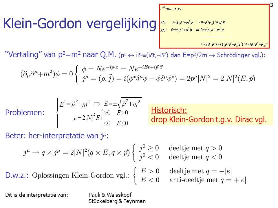 "3 Klein-Gordon vergelijking ""Vertaling"" van p 2 =m 2 naar Q.M. (p   i    (i  t,  i  ) dan E=p 2 /2m  Schrödinger vgl.): Problemen: Historisch"