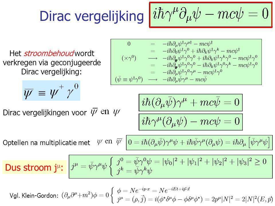 31 Dirac vergelijking Dus stroom j  : Dirac vergelijkingen voor Optellen na multiplicatie met Vgl. Klein-Gordon: Het stroombehoud wordt verkregen via