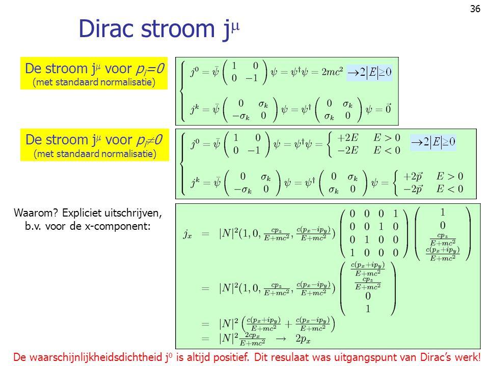36 Dirac stroom j  Waarom? Expliciet uitschrijven, b.v. voor de x-component: De waarschijnlijkheidsdichtheid j 0 is altijd positief. Dit resulaat was