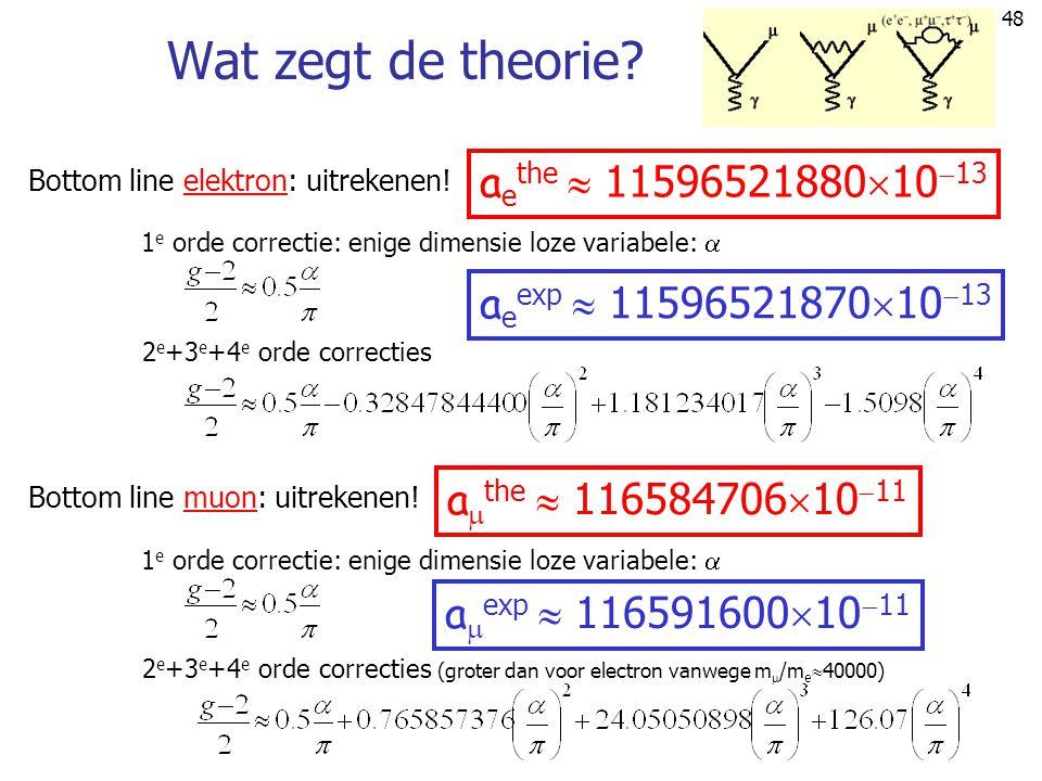 48 Wat zegt de theorie? Bottom line elektron: uitrekenen! 1 e orde correctie: enige dimensie loze variabele:  2 e +3 e +4 e orde correcties a e the 