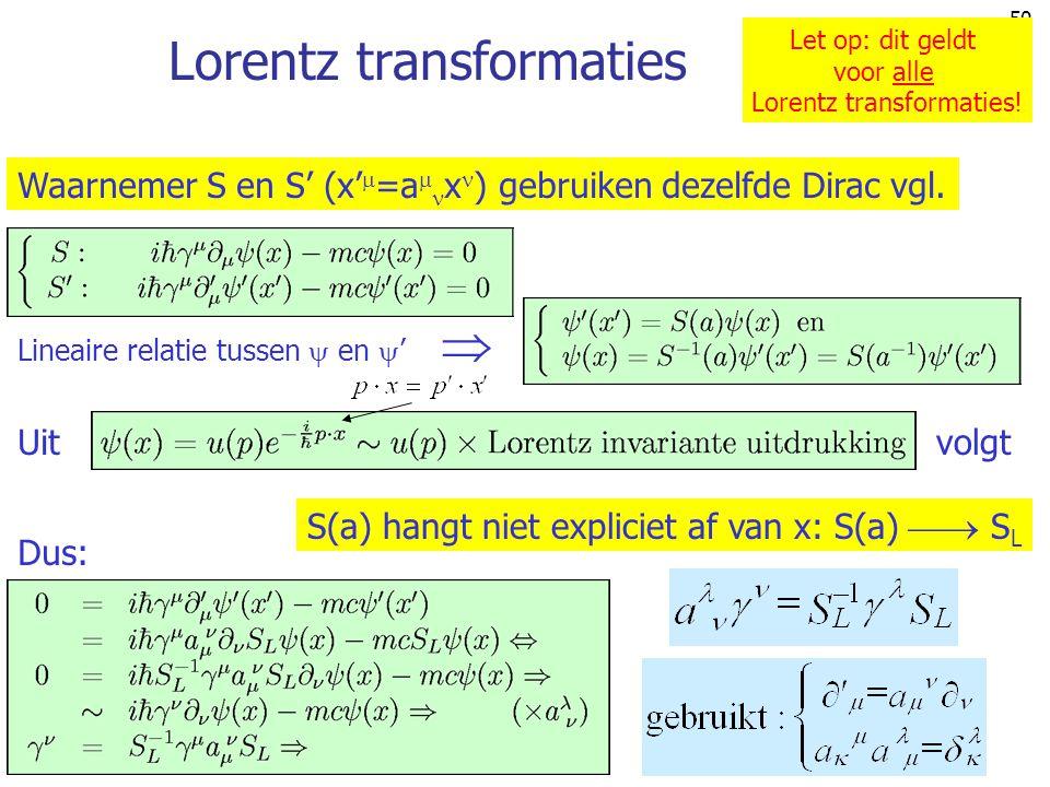 50 Lorentz transformaties Waarnemer S en S' (x'  =a  x ) gebruiken dezelfde Dirac vgl. Lineaire relatie tussen  en  '  Dus: S(a) hangt niet expli