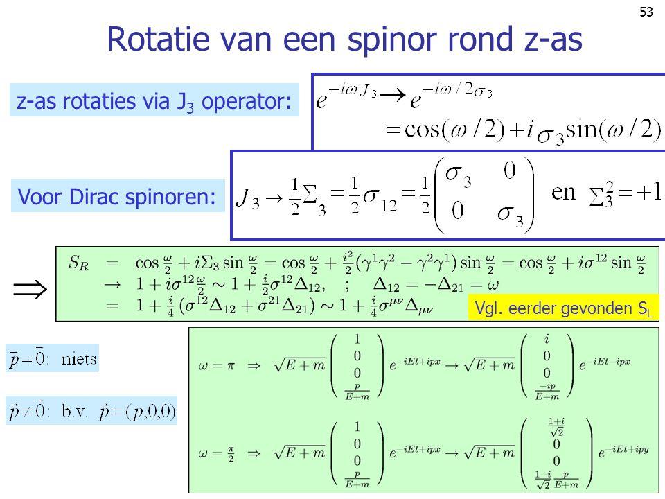 53 Rotatie van een spinor rond z-as z-as rotaties via J 3 operator: Voor Dirac spinoren:  Vgl. eerder gevonden S L