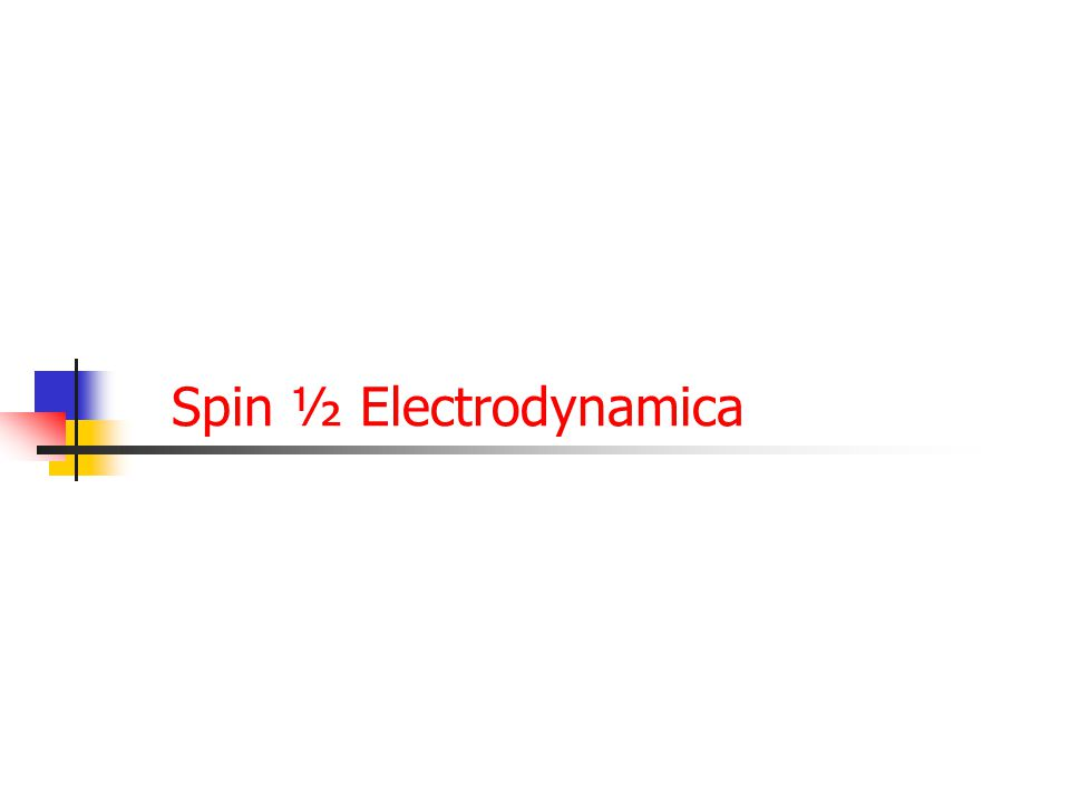59 Spin ½ Electrodynamica